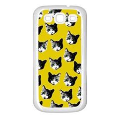 Cat Pattern Samsung Galaxy S3 Back Case (white) by Valentinaart