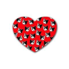 Cat Pattern Rubber Coaster (heart)  by Valentinaart