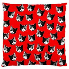 Cat Pattern Large Flano Cushion Case (two Sides) by Valentinaart