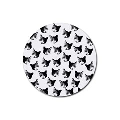 Cat Pattern Rubber Coaster (round)  by Valentinaart