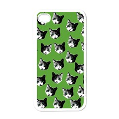 Cat Pattern Apple Iphone 4 Case (white) by Valentinaart