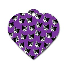 Cat Pattern Dog Tag Heart (one Side) by Valentinaart