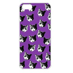 Cat Pattern Apple Iphone 5 Seamless Case (white) by Valentinaart