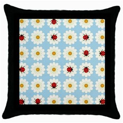 Ladybugs Pattern Throw Pillow Case (black) by linceazul