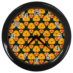 Yellow Pink Shapes Pattern         Wall Clock (black) by LalyLauraFLM