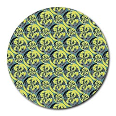 Black And Yellow Pattern Round Mousepads by linceazul