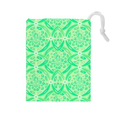Kiwi Green Geometric Drawstring Pouches (large)  by linceazul