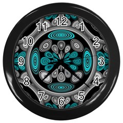 Geometric Arabesque Wall Clocks (black) by linceazul
