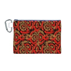 Red And Brown Pattern Canvas Cosmetic Bag (m) by linceazul
