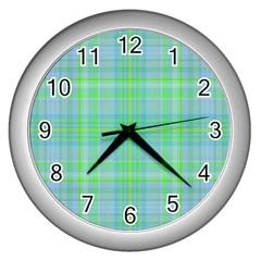 Plaid Design Wall Clocks (silver)  by Valentinaart