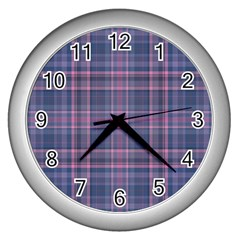 Plaid Design Wall Clocks (silver)  by Valentinaart