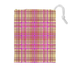 Plaid Design Drawstring Pouches (extra Large) by Valentinaart