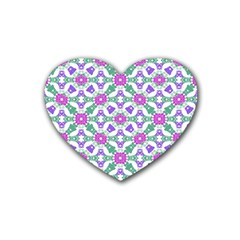 Multicolor Ornate Check Rubber Coaster (heart)  by dflcprints