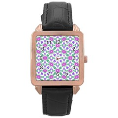Multicolor Ornate Check Rose Gold Leather Watch  by dflcprints