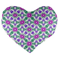 Multicolor Ornate Check Large 19  Premium Flano Heart Shape Cushions by dflcprints