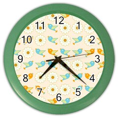 Birds And Daisies Color Wall Clocks by linceazul