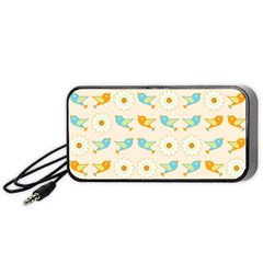 Birds And Daisies Portable Speaker (black) by linceazul