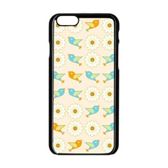 Birds And Daisies Apple Iphone 6/6s Black Enamel Case by linceazul
