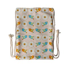 Birds And Daisies Drawstring Bag (small) by linceazul