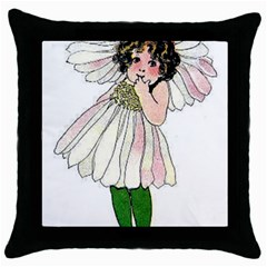 Daisy Vintage Flower Child Cute Funny Floral Little Girl Throw Pillow Case (black) by yoursparklingshop