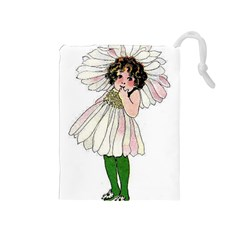 Daisy Vintage Flower Child Cute Funny Floral Little Girl Drawstring Pouches (medium)  by yoursparklingshop