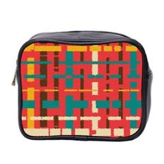 Colorful Line Segments Mini Toiletries Bag 2 Side by linceazul