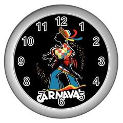 Carnaval  Wall Clocks (silver)  by Valentinaart