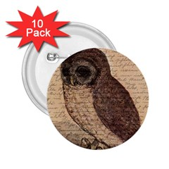 Vintage Owl 2 25  Buttons (10 Pack)  by Valentinaart