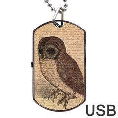 Vintage Owl Dog Tag Usb Flash (one Side) by Valentinaart