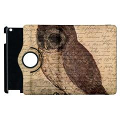 Vintage Owl Apple Ipad 3/4 Flip 360 Case by Valentinaart