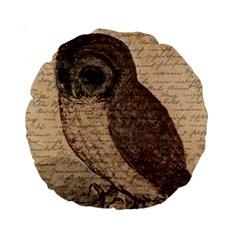 Vintage Owl Standard 15  Premium Round Cushions by Valentinaart