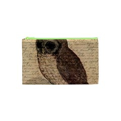 Vintage Owl Cosmetic Bag (xs) by Valentinaart