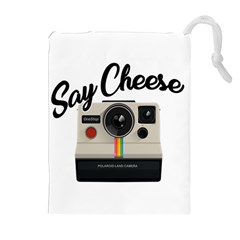 Say Cheese Drawstring Pouches (extra Large) by Valentinaart