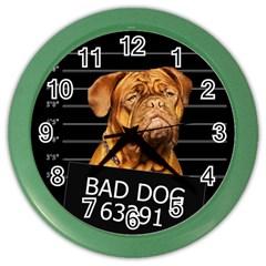 Bad Dog Color Wall Clocks by Valentinaart