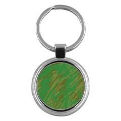 Brown Green Texture             Key Chain (round) by LalyLauraFLM