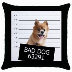 Bad Dog Throw Pillow Case (black) by Valentinaart