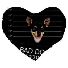 Bad Dog Large 19  Premium Flano Heart Shape Cushions by Valentinaart