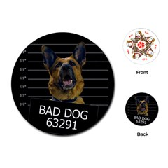 Bad Dog Playing Cards (round)  by Valentinaart
