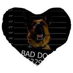 Bad Dog Large 19  Premium Heart Shape Cushions by Valentinaart