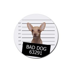 Bad Dog Rubber Coaster (round)  by Valentinaart