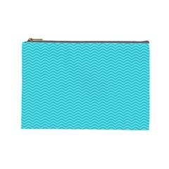 Blue Waves Pattern  Cosmetic Bag (large)  by TastefulDesigns