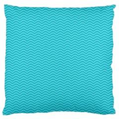 Blue Waves Pattern  Large Cushion Case (two Sides) by TastefulDesigns