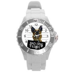 Bad Dog Round Plastic Sport Watch (l) by Valentinaart