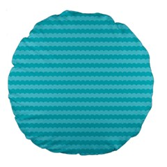 Abstract Blue Waves Pattern Large 18  Premium Flano Round Cushions by TastefulDesigns