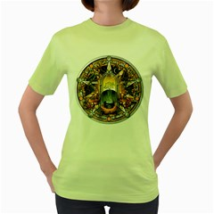 Samhain Sabbat Pentacle Women s Green T Shirt by NaumaddicArts
