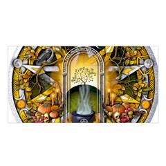 Samhain Sabbat Pentacle Satin Shawl by NaumaddicArts