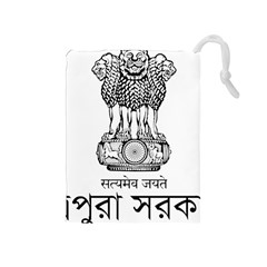 Seal Of Indian State Of Tripura Drawstring Pouches (medium)  by abbeyz71