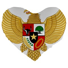 National Emblem Of Indonesia  Large 19  Premium Heart Shape Cushions by abbeyz71