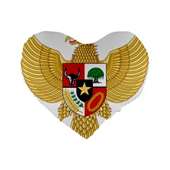 National Emblem Of Indonesia  Standard 16  Premium Flano Heart Shape Cushions by abbeyz71