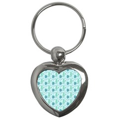 Flowers And Leaves Pattern Key Chains (heart)  by TastefulDesigns